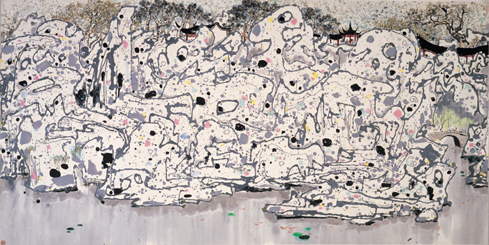 Lion Woods, 1983, ink and color on rice paper, 173 x 290 cm, Shanghai Art Museum.
