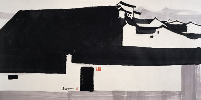 A Big Manor, 2001, ink and color on rice paper, 70 x 140 cm, Shanghai Art Museum.
