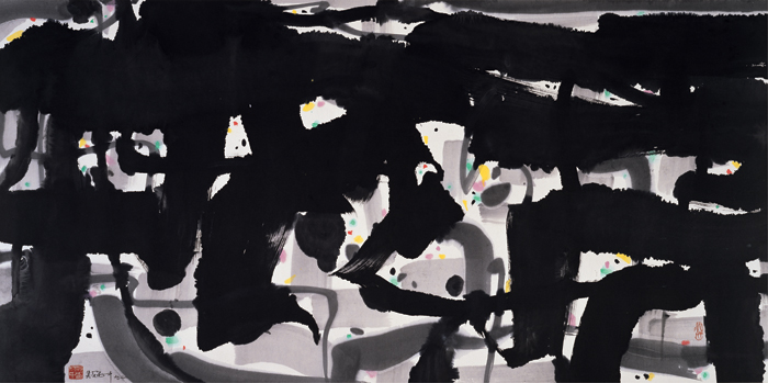 Alienation, 1992, ink and color on rice paper, 69 x 138 cm, Shanghai Art Museum.