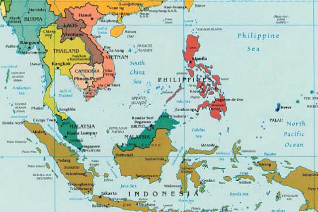 map of asian countries only. Southeast Asia consists of