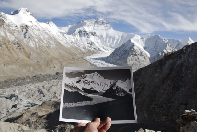 David Breashears, Lining Up a Comparative Shot at the Main Rongbuk Glacier, Mount Everest, 2007. Courtesy of GlacierWorks