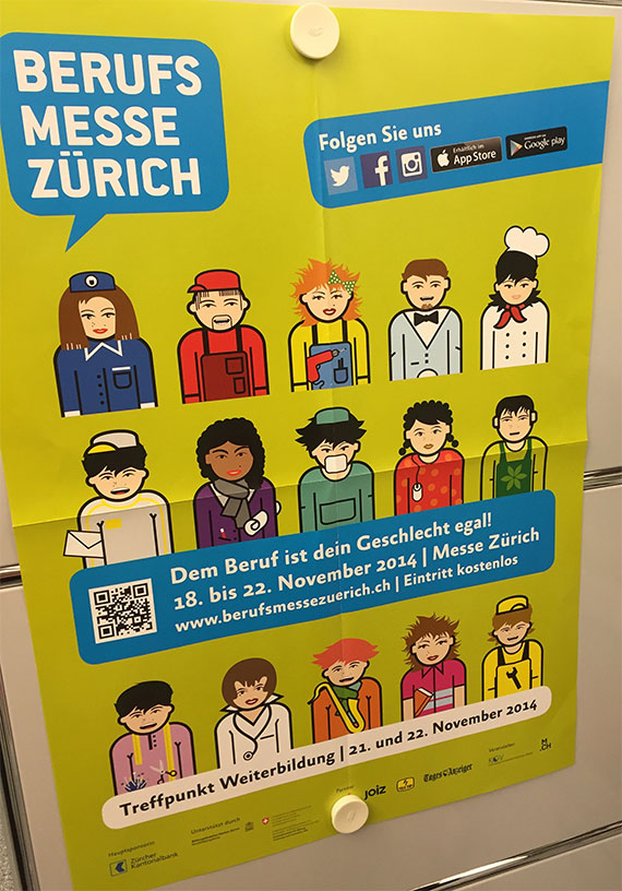 A poster showing different career options hangs in a guidance counseling center in Zurich, Switzerland. / Heather Singmaster