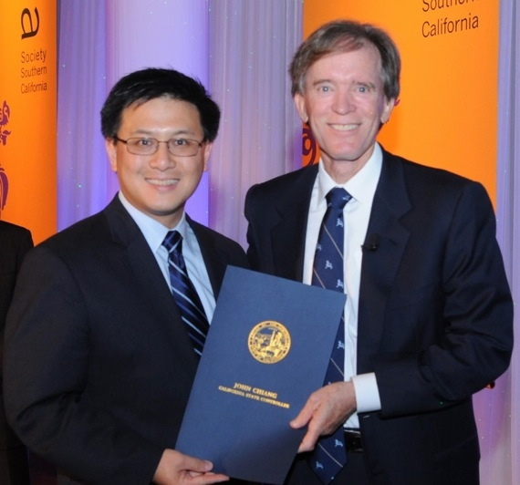 California State Controller John Chiang presenting a proclamation to Honoree Bill Gross. (Dan Avila Photography)