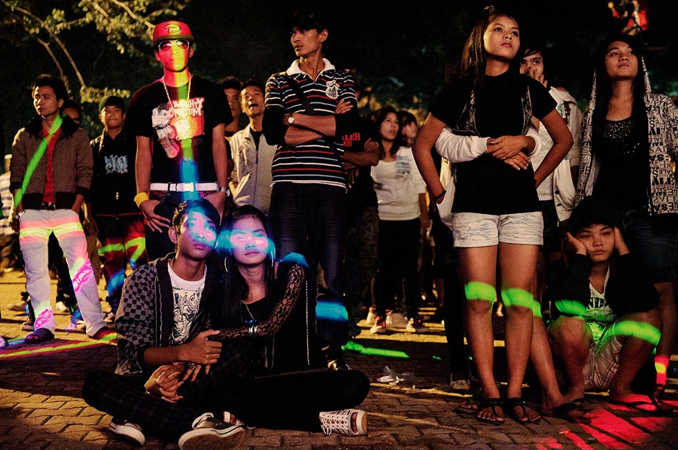 At dusk, in Yangon, a group of hip-hoppers wait for a concert to start. (Gilles Sabrié)