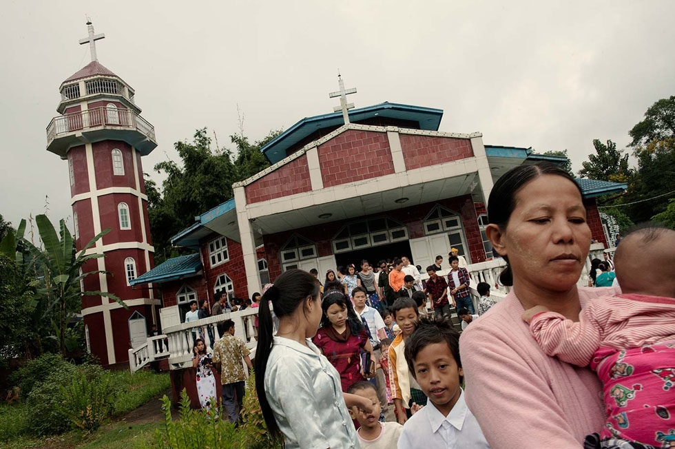 In Laiza ethnic Kachin leave Sunday mass. In this border town with China the locals are mostly Christian in a country where the dominant religion is Buddhism. (Gilles Sabrié)
