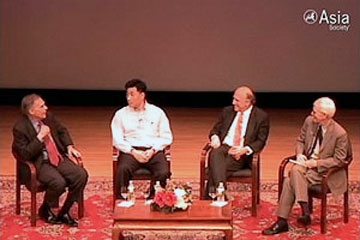 L to R: Winston Lord, Bao Pu, Adi Ignatius, and Orville Schell at the Asia Society on June 17, 2009.