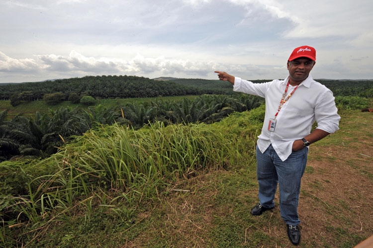 AirAsia founder Tony Fernandes near the proposed site of the new AirAsia terminal in Kuala Lumpur on Jan. 8, 2009.  (Saeed Khan/AFP/Getty Images)