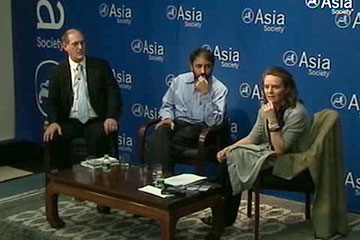 L to R: John Halpern, Sadanand Dhume, and Justine Hardy at Asia Society New York on Apr. 5, 2010.
