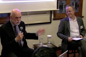 Richard Armstrong (L) and Hans Ulrich Obrist (R) speaking before Asia Society members in Hong Kong on May 27, 2010. (57 min.)