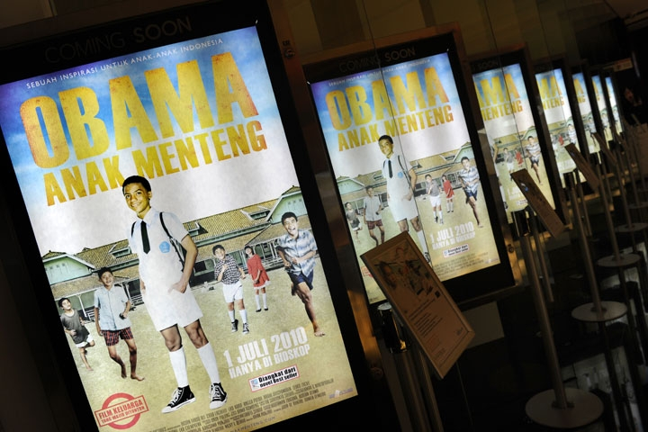 "Movie posters for ""Obama Anak Menteng"" (""Obama the Menteng Kid""), a film about President Barack Obama's childhood days in Indonesia, are displayed in a Jakarta theater before a screening on June 30, 2010. (Romeo Gacad/AFP/Getty Images)"
