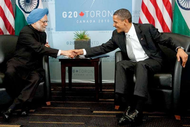 US President Barack Obama shakes hands with India's Prime Minister Manmohan Singh during meetings on the sideline of the G20 Summit in Toronto on June 27, 2010. (Saul Loeb/AFP/Getty Images)