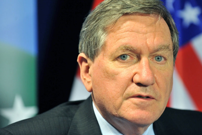 Former Asia Society Chairman Richard Holbrooke, shown here at a press conference in Brussels in October 2010. (Georges Gobet/AFP/Getty Images)