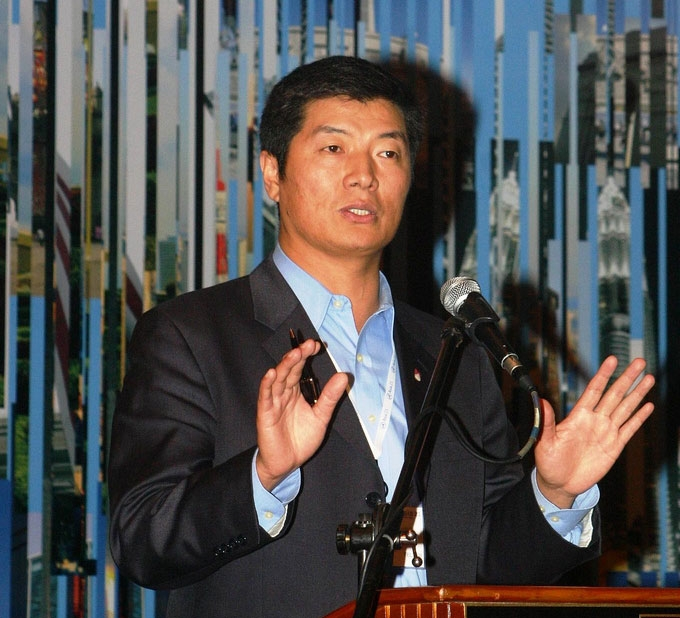 Newly elected Prime Minister for Tibetans-in-exile Lobsang Sangay speaks at the Asia Society's Asia 21 Young Leaders Summit in Kuala Lumpur, Malaysia in November 2009.