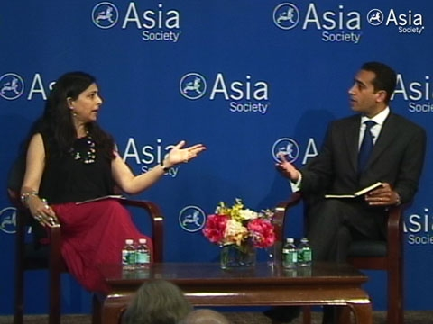 Hassina Sherjan (L) speaking with Michael Hanna (R) at Asia Society New York