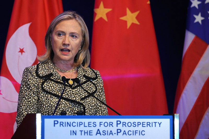 US Sec. of State Hillary Clinton gives a speech at the American Chambers of Commerce in Hong Kong on July 25, 2011. Clinton told Asian business leaders she was confident US lawmakers would reach a deal to avert a debt default. (Mike Clarke/AFP/Getty Images)