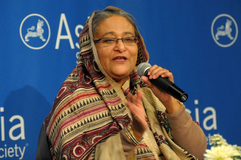 Sheikh Hasina, Prime Minister of Bangladesh, speaks at the Asia Society in New York on September 20, 2011. (Elsa Ruiz)