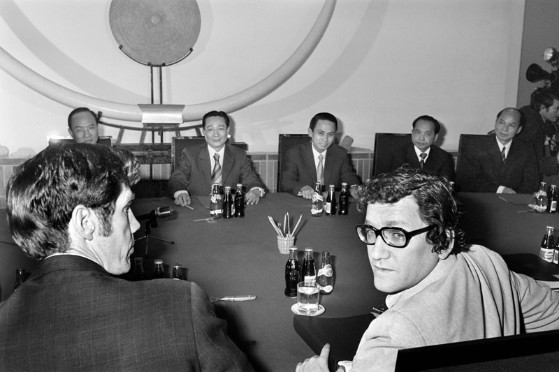 Picture released on Dec. 19, 1977 of Phan Hien (C, back), Vietnamese Vice-minister of Foreign Affairs facing Richard Holbrooke (R, front) U.S. Assistant Secretary of State for East Asian and Pacific Affairs, during U.S.-Vietnamese talks on normalizing relations between the countries, at the Vietnamese Embassy in Saigon. (Michel Clement/AFP/Getty Images)