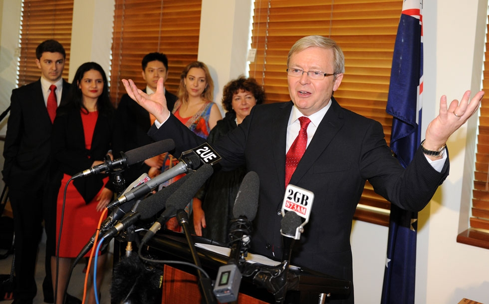 Former Australian prime minister and then foreign minister Kevin Rudd gestures during a press conference following the Labor leadership challenge at Parliament House in Canberra on February 27, 2012. (Torsten Blackwood/AFP/Getty Images)