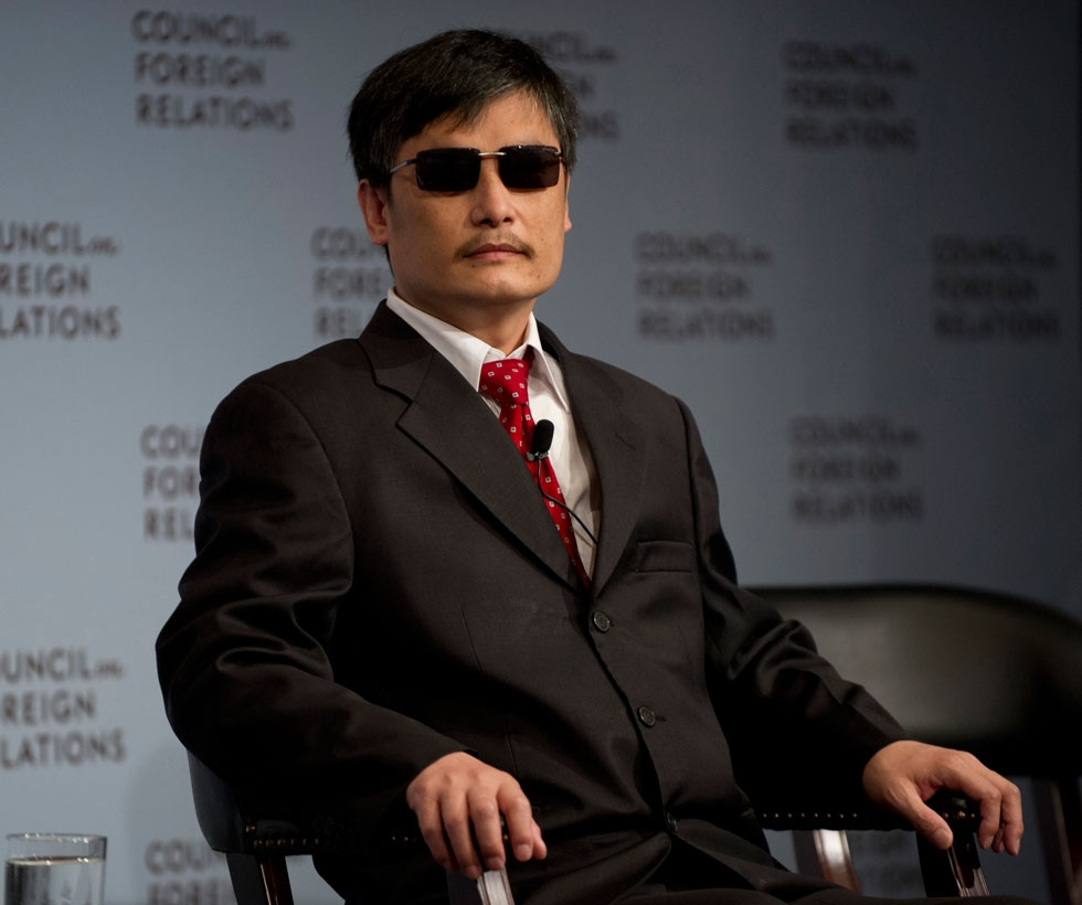 Chinese dissident Chen Guangcheng listens to a question at the Council on Foreign Relations on May 31, 2012 in New York. (Don Emmert/AFP/GettyImages)