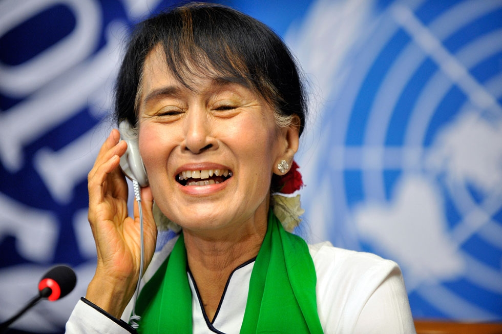 Aung San Suu Kyi at a press conference following her address to the International Labour Organization (ILO) annual conference at the United Nations office in Geneva on June 14, 2012. (Sebastien Feval/AFP/Getty Images)
