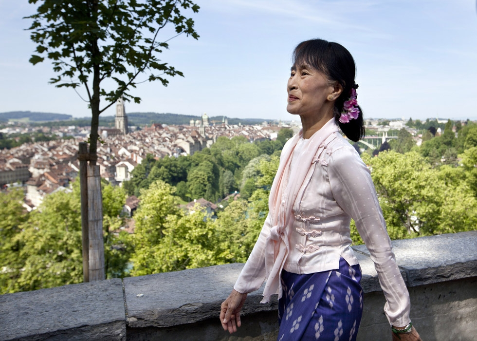 As if savoring her freedom, Suu Kyi visits the Rose Garden in Bern, Switzerland on June 15, 2012. (Yoshiko Kusano/AFP/Getty Images)