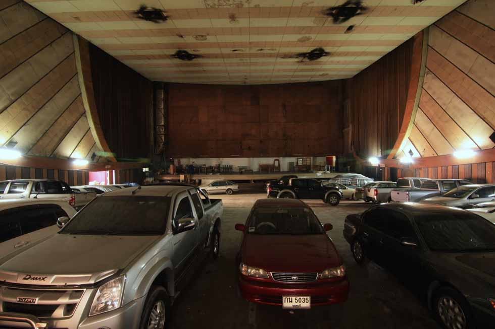 A parking lot has opened in what used to be the auditorium of the Nonthaburi Rama Theater in Nonthaburi, Thailand. (Philip Jablon)