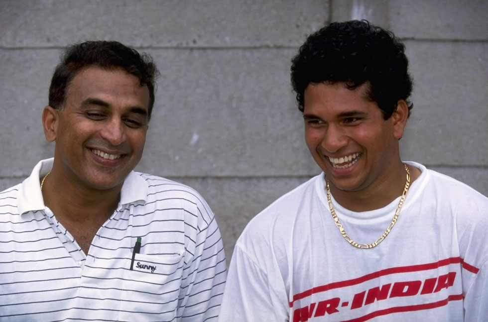 November 1992: Sunil Gavaskar (L) and Tendulkar in Durban during India's tour of South Africa. (Mike Hewitt/Getty Images)