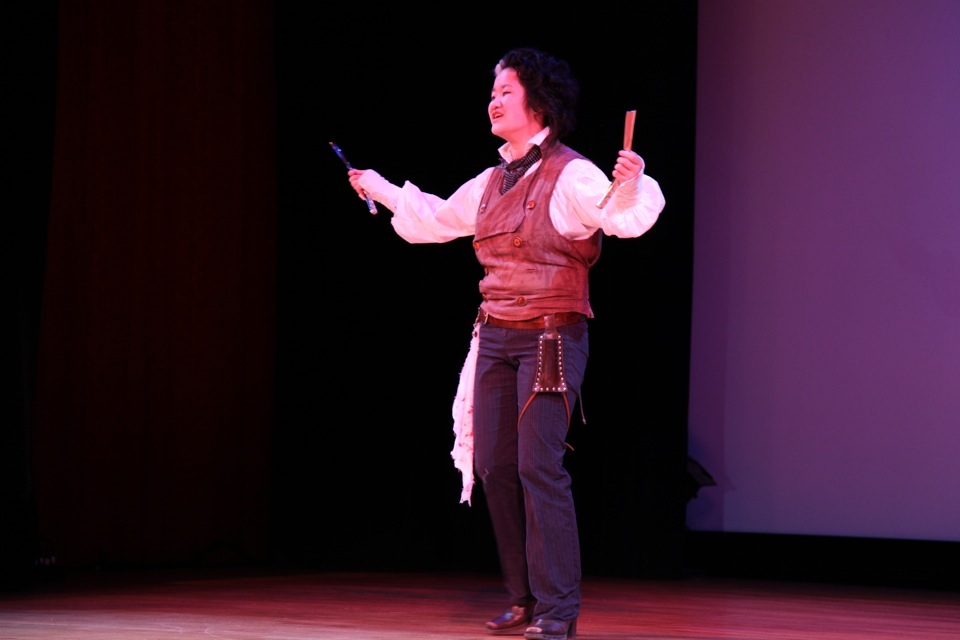 Second-place winner Emma McGuyre gives a chilling performance as Sweeney Todd. (Leah Thompson/Asia Society)
