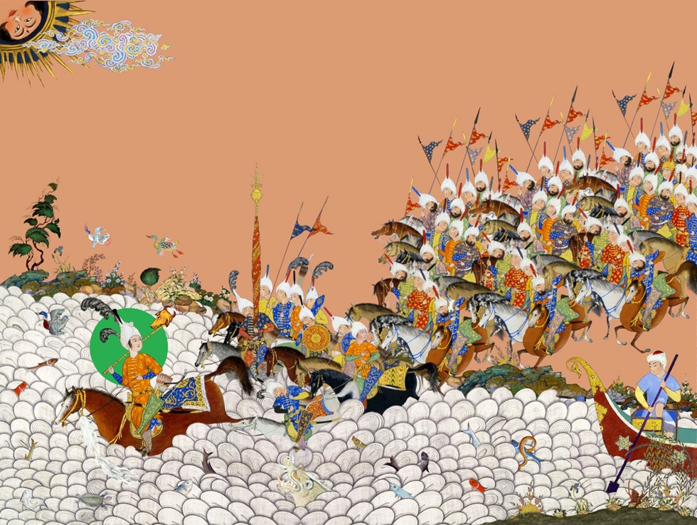 Inspired by the wealth of imagery he found in different editions of Shahnameh, artist Hamid Rahmanian experimented with bringing together images from different styles and periods. (Hamid Rahmanian)