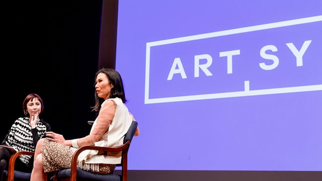 Melissa Chiu (L) and Wendi Murdoch (R) onstage at Asia Society New York on March 4, 2013.