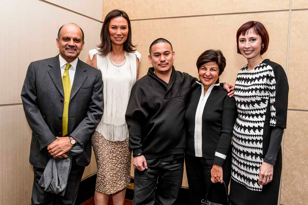 L to R: Asia Society Trustee Emeritus Dinyar Devitre, Wendi Murdoch, Kenzo Digital, Aashish Devitre, and Melissa Chiu. (C. Bay Milin/Asia Society)