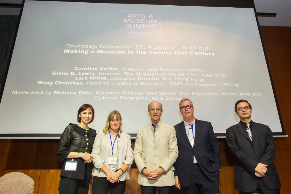 "L to R: Melissa Chiu, Caroline Collier, Glenn D. Lowry, Lars Nittve, and Wang Chunchen after discussing ""Making a Museum in the 21st Century"" during the Arts & Museum Summit at Asia Society in Hong Kong on November 21, 2013. (Nick Mak/Asia Society)"