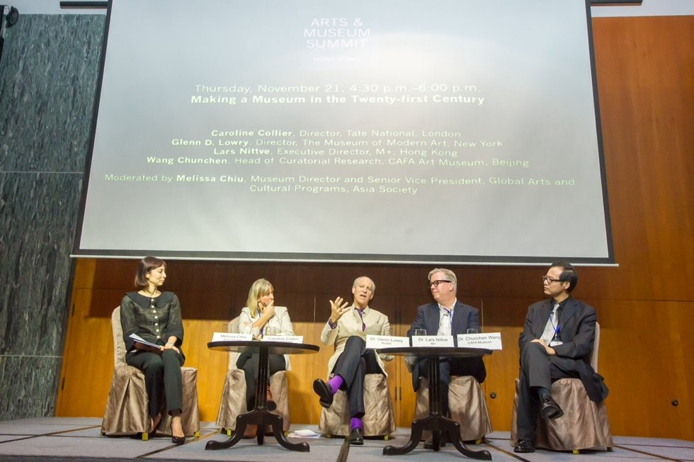 "L to R: Melissa Chiu, Caroline Collier, Glenn D. Lowry, Lars Nittve, and Wang Chunchen discuss ""Making a Museum in the 21st Century"" during the Arts & Museum Summit at Asia Society in Hong Kong on November 21, 2013. (Nick Mak/Asia Society)"