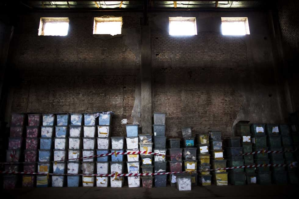 Afghan presidential election ballot boxes are stacked in rows at a warehouse in Herat on April 3, 2014. (Behrouz Mehri/AFP/Getty Images)