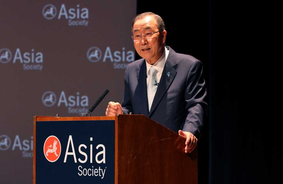 """All the values for which we stand, and all the reasons for which the United Nations exists, are at stake, here and now, across the devastated landscape that is Syria today,"" Secretary-General Ban told the audience at Asia Society New York. (Ellen Wallop/Asia Society)"