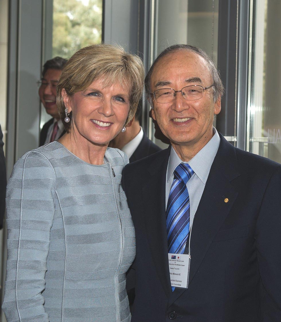 The Hon Julie Bishop, Minister for Foreign Affairs with Dr Akio Mimura AC, Chairman, Japan Australia Business Co-operation Committee. (Irene Dowdy)