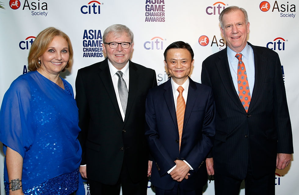 L to R: Asia Society President Josette Sheeran, former Australian Prime Minister Kevin Rudd, Jack Ma, and General Atlantic Managing Director J. Frank Brown at the United Nations on Oct. 16, 2014. (Jimi Celeste/Patrick McMullan)