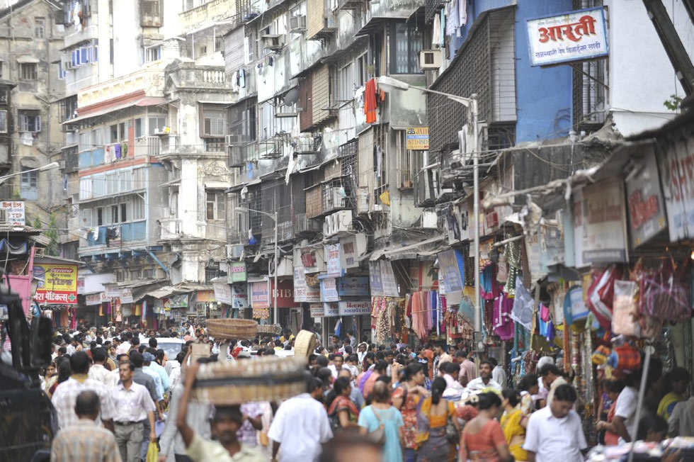 A crowded street in an old quarter of Mumbai. (Tom Carter)