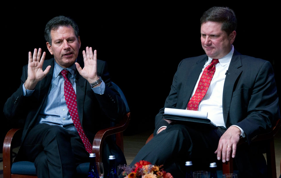 Panelists Robert D. Kaplan (L) and Peter Dutton (R) at Asia Society New York on Nov. 12, 2014. (Elena Olivo/Asia Society)