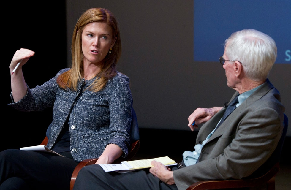 Holly Morrow (L) and Orville Schell at Asia Society New York on Nov. 12, 2014. (Elena Olivo/Asia Society)