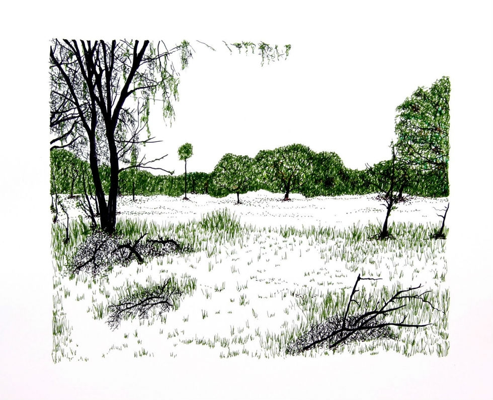 Blane De St. Croix, U.S./Mexico Border No. 6, 2009, Ink on paper, Courtesy of the artist