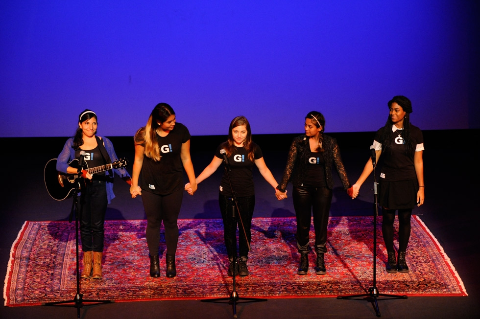 The group Girl Be Heard delivered a spoken word performance inspired by Malala's words. (Elena Olivo/Asia Society)