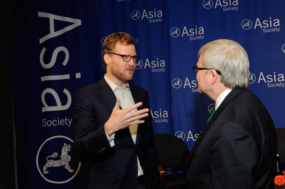 Asia Society trustee Charles Rockefeller talks with Kevin Rudd. (Elena Olivo/Asia Society)
