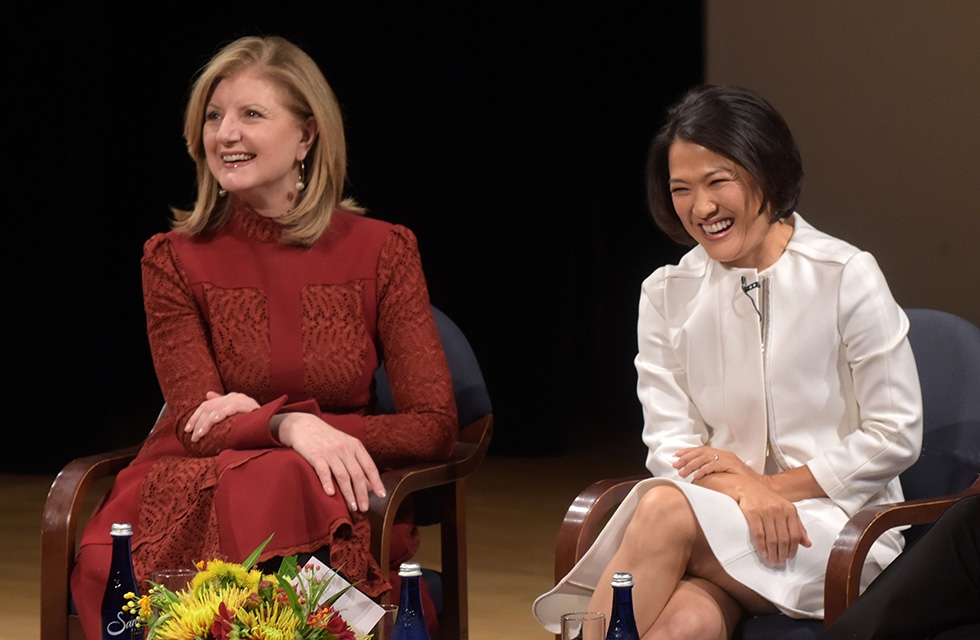 Arianna Huffington, founder of the Huffington Post, and Zhang Xin, CEO of SOHO China, share a laugh during a special conversation about female leadership and their personal and professional journey to success in New York on September 29, 2016. (Asia Society/Elsa Ruiz)
