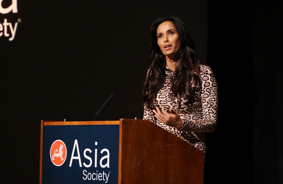 "Cookbook author, actress, and television personality Padma Lakshmi discusses her memoir, ""Love, Loss, and What We Ate"" in New York on March 10, 2016. (Asia Society/Ellen Wallop)"