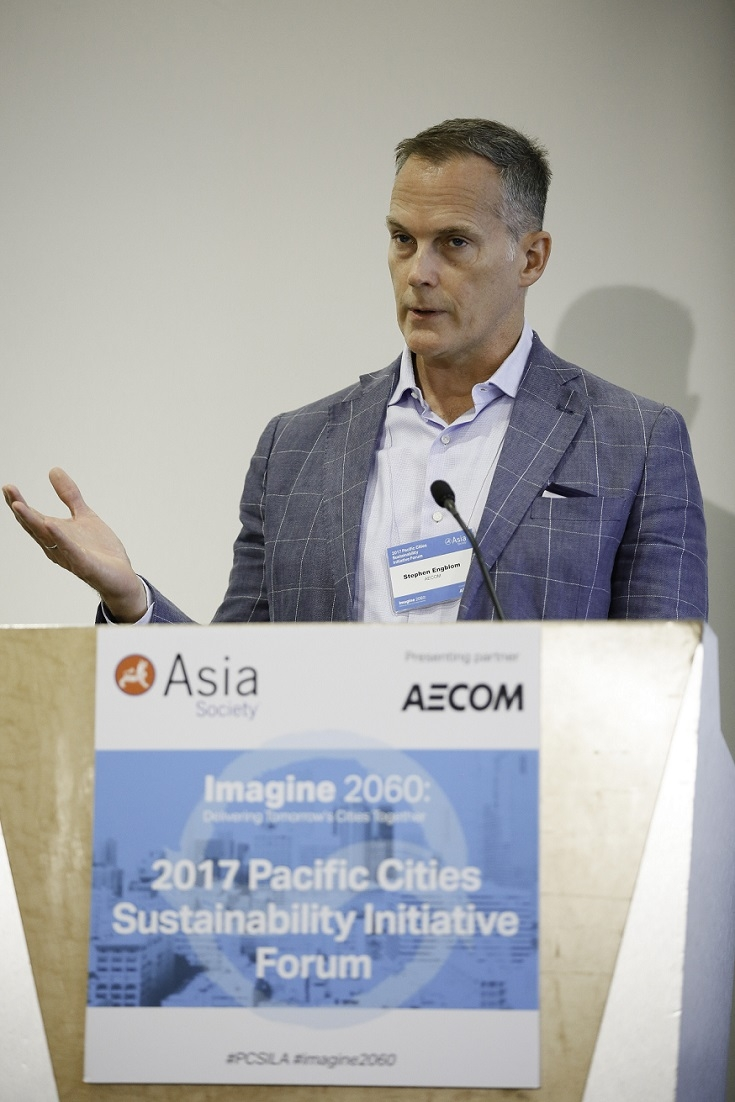 Stephen Engblom, Global Director, Cities for AECOM provides opening remarks. (Photo by Ryan Miller/Capture Imaging)