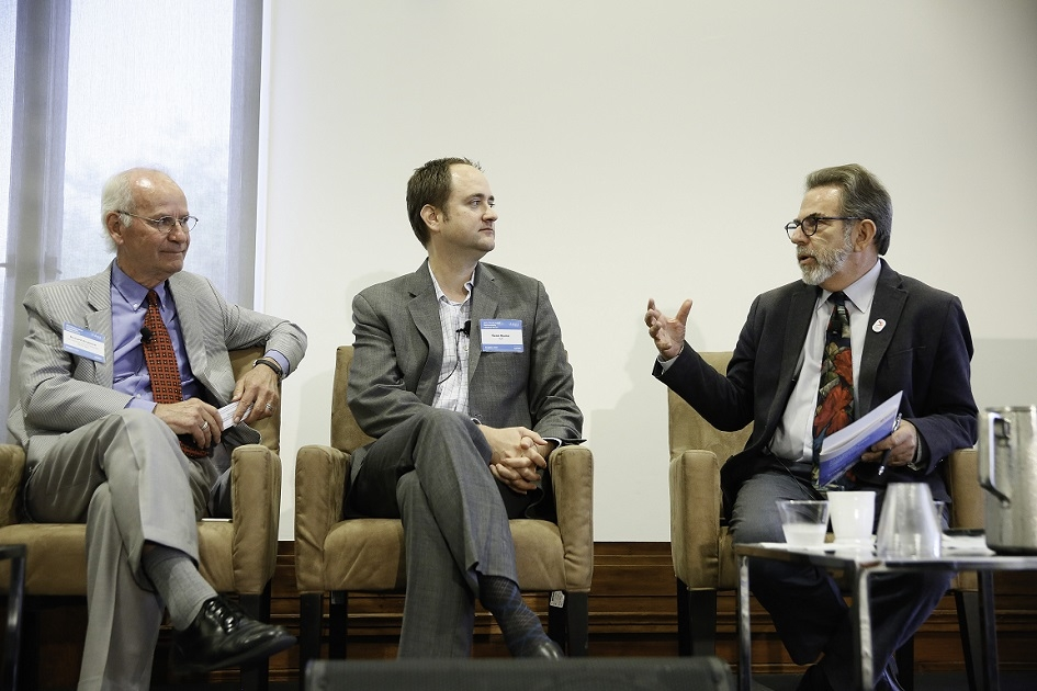 "Drobnick, Sean Quinn of HOK, and Andy Lipkis of TreePeople engage in a dialogue during the second panel, ""Integrated Solutions for Healthy Urban Water and Air."" (Photo by Ryan Miller/Capture Imaging)"