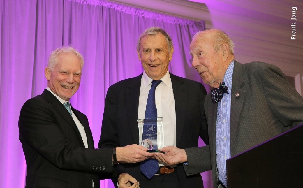 ASNC's Executive Director, Bruce Pickering (left) and ASNC Honorary Chairman, Honorable George Shultz (right) present a Leadership and Excellence Award in Philanthropy to ASNC Advisory Board Member, Richard C. Blum (Frank Jang Asia Society)