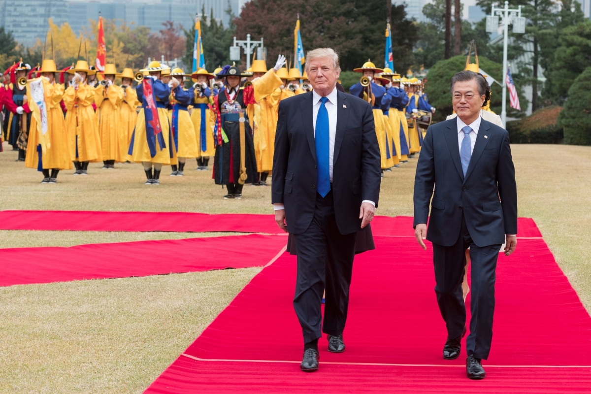 U.S. President Donald J. Trump with South Korean President Moon Jae-in on November 7, 2017 in South Korea