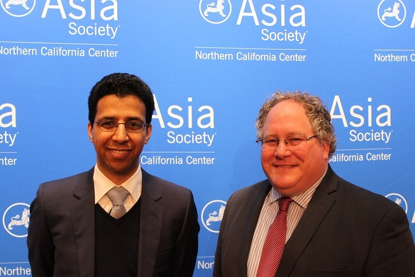 "ASNC hosted David Barboza, Pulitzer Prize winning reporter for The New York Times and Clayton Dube of the University of Southern California's U.S.-China Institute, pose for a photograph prior to ""China's Red Nobility: A Conversation with David Barboza"" on March 2, 2016. (Asia Society)"